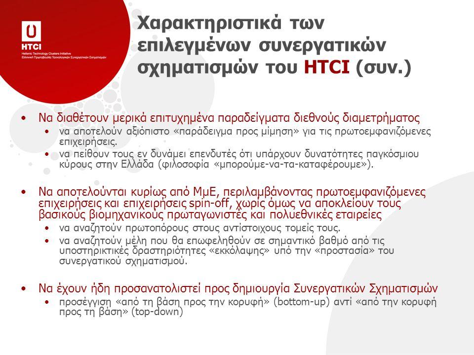 Χαρακτηριστικά των επιλεγμένων συνεργατικών σχηματισμών του HTCI (συν.) Να διαθέτουν μερικά επιτυχημένα παραδείγματα διεθνούς διαμετρήματος να αποτελούν αξιόπιστο «παράδειγμα προς μίμηση» για τις πρωτοεμφανιζόμενες επιχειρήσεις.