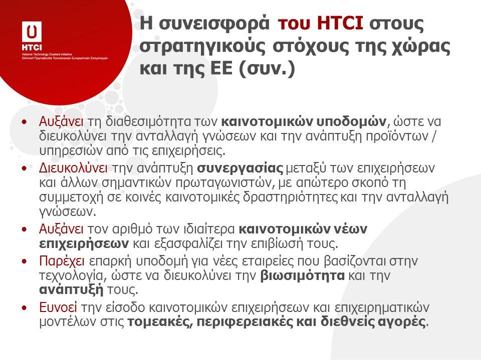 Η συνεισφορά του HTCI στους στρατηγικούς στόχους της χώρας και της ΕΕ (συν.) Αυξάνει τη διαθεσιμότητα των καινοτομικών υποδομών, ώστε να διευκολύνει την ανταλλαγή γνώσεων και την ανάπτυξη προϊόντων / υπηρεσιών από τις επιχειρήσεις.