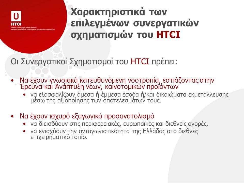 Χαρακτηριστικά των επιλεγμένων συνεργατικών σχηματισμών του HTCI Οι Συνεργατικοί Σχηματισμοί του HTCI πρέπει: Να έχουν γνωσιακά κατευθυνόμενη νοοτροπία, εστιάζοντας στην Έρευνα και Ανάπτυξη νέων, καινοτομικών προϊόντων να εξασφαλίζουν άμεσα ή έμμεσα έσοδα ή/και δικαιώματα εκμετάλλευσης μέσω της αξιοποίησης των αποτελεσμάτων τους.