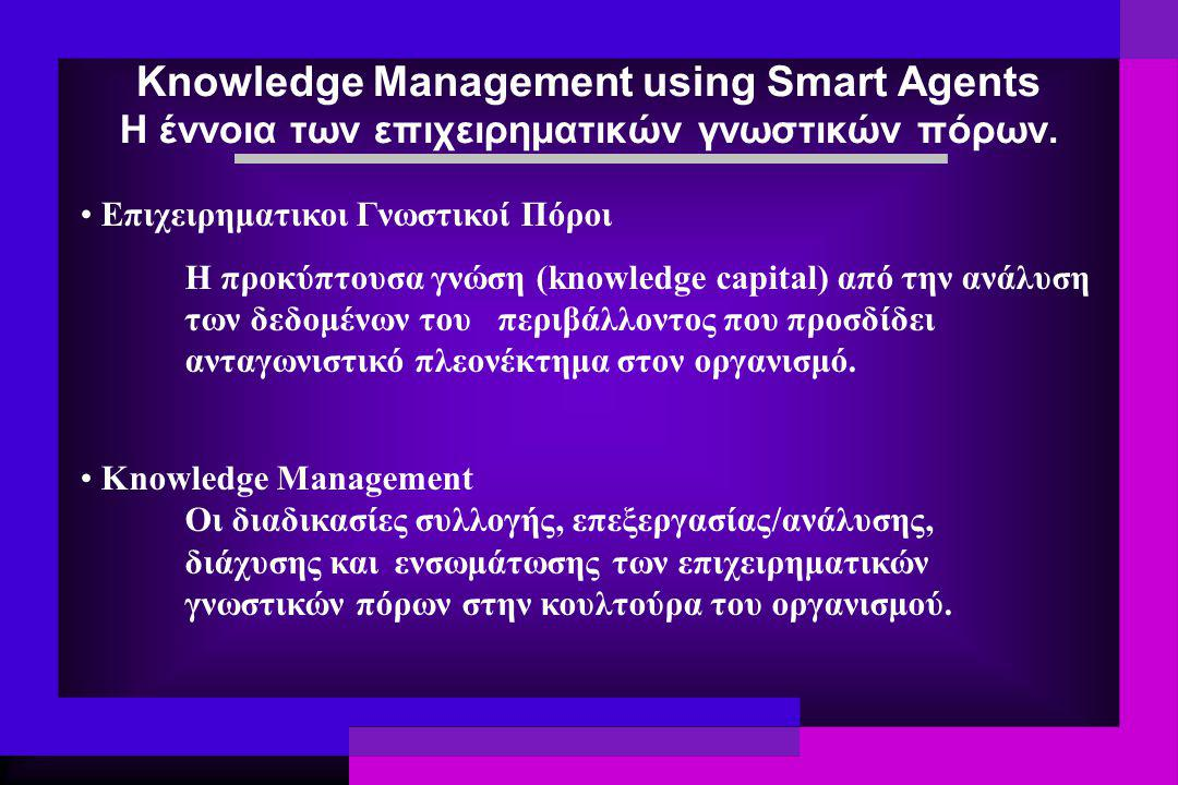 Knowledge Management using Smart Agents Η έννοια των επιχειρηματικών γνωστικών πόρων. Επιχειρηματικοι Γνωστικοί Πόροι Η προκύπτουσα γνώση (knowledge c