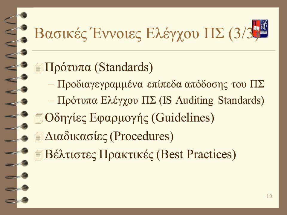 10 Βασικές Έννοιες Ελέγχου ΠΣ (3/3) 4 Πρότυπα (Standards) –Προδιαγεγραμμένα επίπεδα απόδοσης του ΠΣ –Πρότυπα Ελέγχου ΠΣ (IS Auditing Standards) 4 Οδηγ