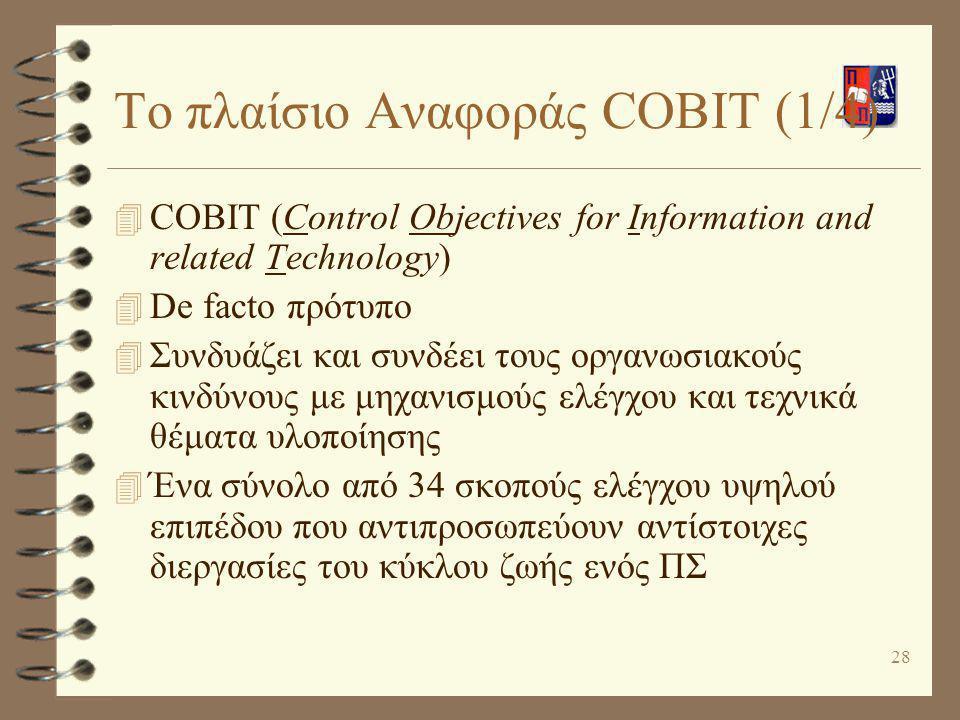 29 Το πλαίσιο Αναφοράς COBIT (2/4) 4 Σχεδιασμός και Οργάνωση (Planning and Organization) 4 Προμήθεια και Υλοποίηση (Acquisition and Implementation) 4 Παράδοση και Υποστήριξη (Delivery and Support) 4 Έλεγχος και Παρακολούθηση (Monitoring)