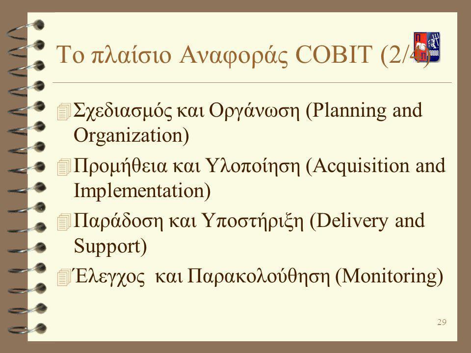 29 Το πλαίσιο Αναφοράς COBIT (2/4) 4 Σχεδιασμός και Οργάνωση (Planning and Organization) 4 Προμήθεια και Υλοποίηση (Acquisition and Implementation) 4