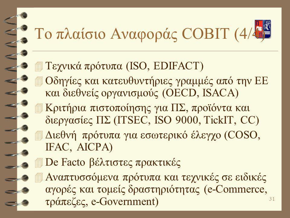 32 Βασικές Έννοιες του COBIT 4 Εταιρική Διακυβέρνηση μέσω της Πληροφορικής (IT Governance): Δομή σχέσεων και διεργασιών που καθοδηγεί τον οργανισμό προκειμένου να πετύχει τους οργανωσιακούς του στόχους με χρήση των ΤΠΕ 4 Τέσσερις τομείς (domains) σκοπών ελέγχου υψηλού επιπέδου που αντιπροσωπεύουν τον κύκλο ζωής ενός ΠΣ –Για κάθε τομέα: Διεργασίες Πληροφορικής (IT Processes) Δραστηριότητες (Activities/Tasks)