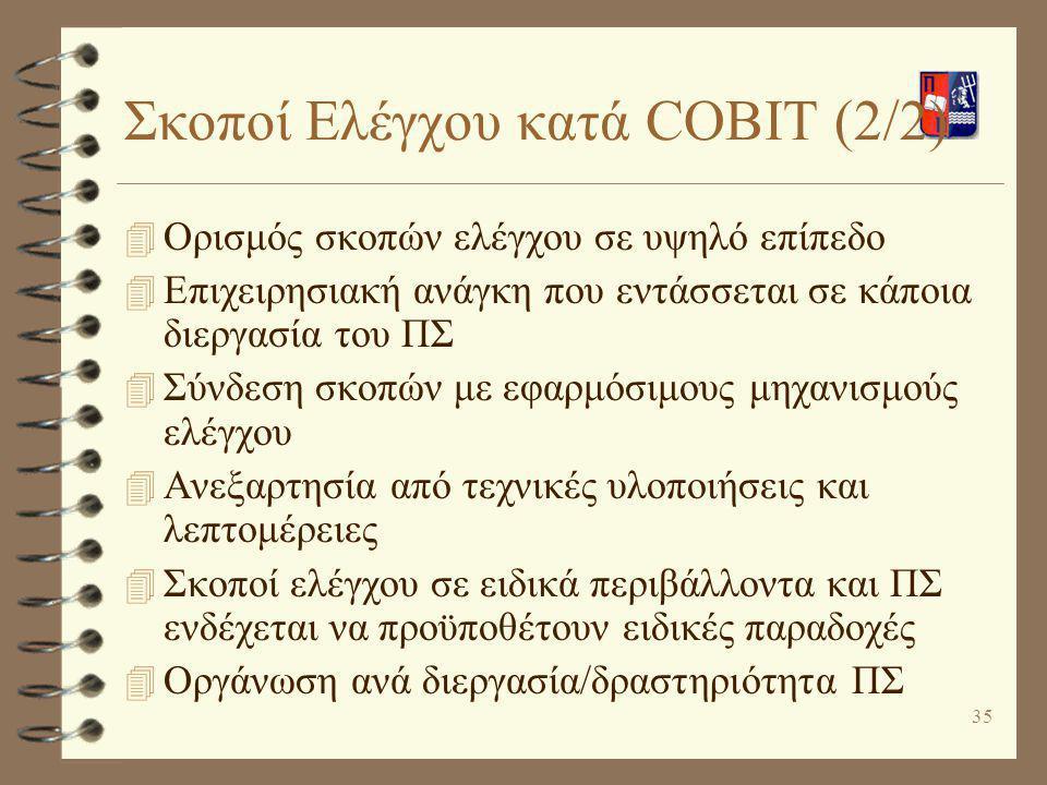 35 Σκοποί Ελέγχου κατά COBIT (2/2) 4 Ορισμός σκοπών ελέγχου σε υψηλό επίπεδο 4 Επιχειρησιακή ανάγκη που εντάσσεται σε κάποια διεργασία του ΠΣ 4 Σύνδεσ