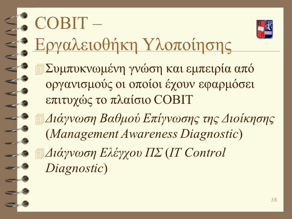 39 Περιορισμοί και ιδιαιτερότητες του COBIT 4 Απαιτεί αναδιοργάνωση της οπτικής των οντοτήτων του οργανισμού που εμπλέκονται στην εφαρμογή του (key players) 4 Το COBIT είναι ένα πλαίσιο που πρέπει να προσαρμοστεί στον συγκεκριμένο οργανισμό 4 Το COBIT συνιστάται να χρησιμοποιηθεί εκ παραλλήλου με άλλες ελεγκτικές προσεγγίσεις 4 Οι Οδηγίες Εφαρμογής προς τη Διοίκηση είναι γενικές και πρέπει να προσαρμοστούν ανάλογα