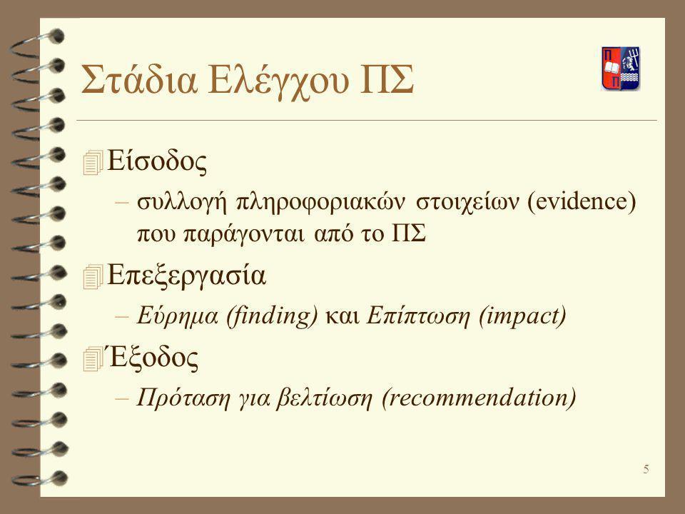 5 Στάδια Ελέγχου ΠΣ 4 Είσοδος –συλλογή πληροφοριακών στοιχείων (evidence) που παράγονται από το ΠΣ 4 Επεξεργασία –Εύρημα (finding) και Επίπτωση (impac
