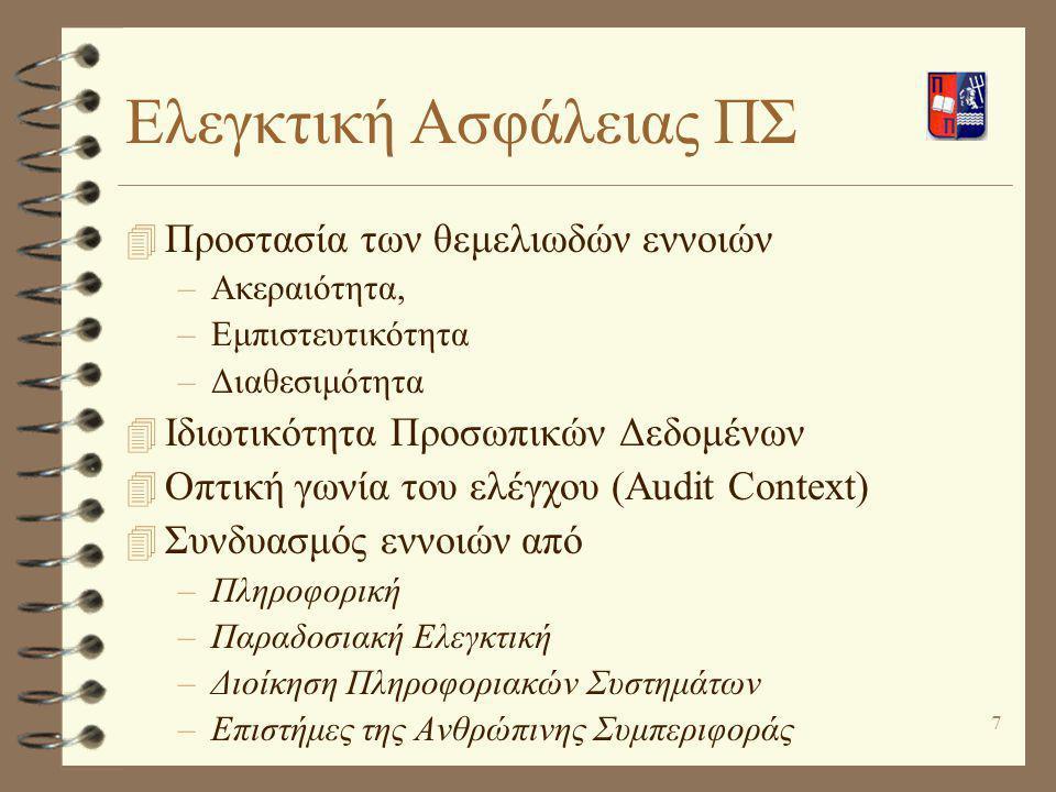 7 Ελεγκτική Ασφάλειας ΠΣ 4 Προστασία των θεμελιωδών εννοιών –Ακεραιότητα, –Εμπιστευτικότητα –Διαθεσιμότητα 4 Ιδιωτικότητα Προσωπικών Δεδομένων 4 Οπτικ