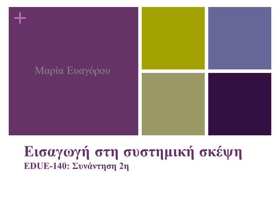 + Εισαγωγή στη συστημική σκέψη EDUE-140: Συνάντηση 2η Μαρία Ευαγόρου