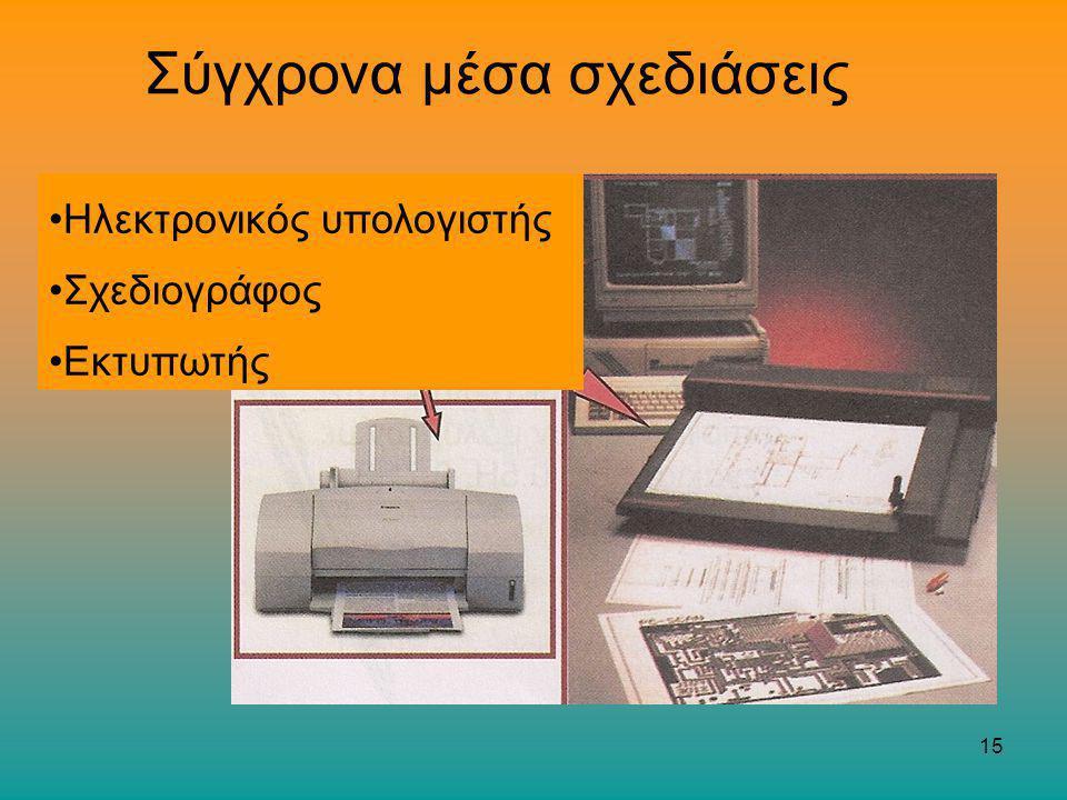 15 Σύγχρονα μέσα σχεδιάσεις Ηλεκτρονικός υπολογιστής Σχεδιογράφος Εκτυπωτής