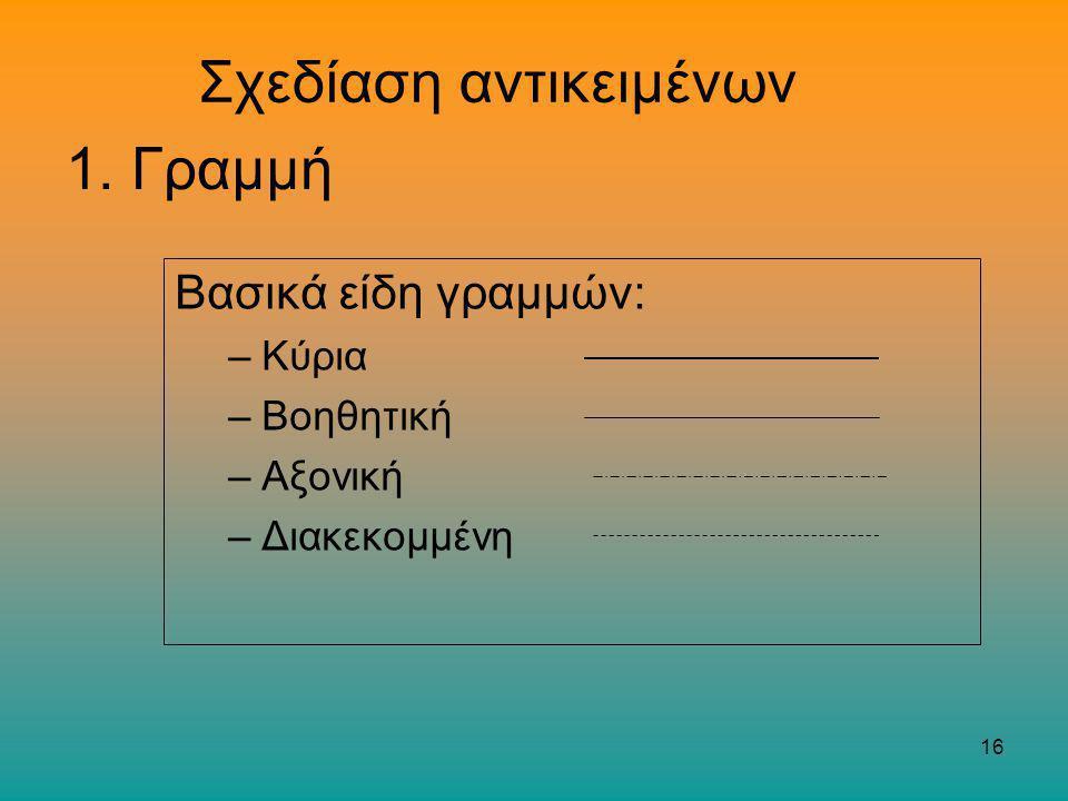 16 Σχεδίαση αντικειμένων Βασικά είδη γραμμών: –Κύρια –Βοηθητική –Αξονική –Διακεκομμένη 1. Γραμμή
