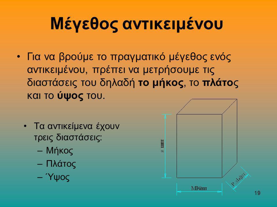 19 Τα αντικείμενα έχουν τρεις διαστάσεις: –Μήκος –Πλάτος –Ύψος Μέγεθος αντικειμένου Για να βρούμε το πραγματικό μέγεθος ενός αντικειμένου, πρέπει να μετρήσουμε τις διαστάσεις του δηλαδή το μήκος, το πλάτος και το ύψος του.