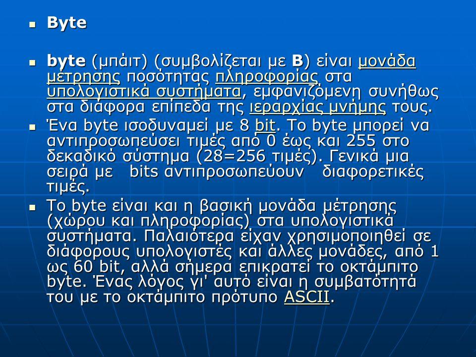 Byte Byte byte (μπάιτ) (συμβολίζεται με B) είναι μονάδα μέτρησης ποσότητας πληροφορίας στα υπολογιστικά συστήματα, εμφανιζόμενη συνήθως στα διάφορα επίπεδα της ιεραρχίας μνήμης τους.