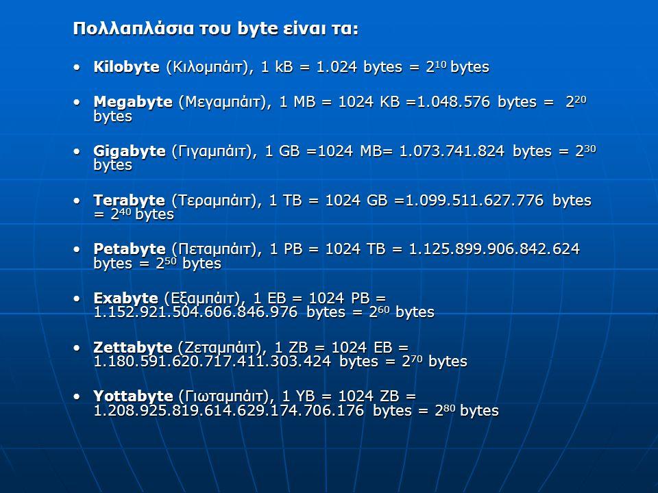 Πολλαπλάσια του byte είναι τα: Kilobyte (Κιλομπάιτ), 1 kB = 1.024 bytes = 2 10 bytesKilobyte (Κιλομπάιτ), 1 kB = 1.024 bytes = 2 10 bytes Megabyte (Μεγαμπάιτ), 1 MB = 1024 KB =1.048.576 bytes = 2 20 bytesMegabyte (Μεγαμπάιτ), 1 MB = 1024 KB =1.048.576 bytes = 2 20 bytes Gigabyte (Γιγαμπάιτ), 1 GB =1024 MB= 1.073.741.824 bytes = 2 30 bytesGigabyte (Γιγαμπάιτ), 1 GB =1024 MB= 1.073.741.824 bytes = 2 30 bytes Terabyte (Τεραμπάιτ), 1 TB = 1024 GB =1.099.511.627.776 bytes = 2 40 bytesTerabyte (Τεραμπάιτ), 1 TB = 1024 GB =1.099.511.627.776 bytes = 2 40 bytes Petabyte (Πεταμπάιτ), 1 PB = 1024 TB = 1.125.899.906.842.624 bytes = 2 50 bytesPetabyte (Πεταμπάιτ), 1 PB = 1024 TB = 1.125.899.906.842.624 bytes = 2 50 bytes Exabyte (Εξαμπάιτ), 1 EB = 1024 PB = 1.152.921.504.606.846.976 bytes = 2 60 bytesExabyte (Εξαμπάιτ), 1 EB = 1024 PB = 1.152.921.504.606.846.976 bytes = 2 60 bytes Zettabyte (Ζεταμπάιτ), 1 ΖB = 1024 ΕB = 1.180.591.620.717.411.303.424 bytes = 2 70 bytesZettabyte (Ζεταμπάιτ), 1 ΖB = 1024 ΕB = 1.180.591.620.717.411.303.424 bytes = 2 70 bytes Yottabyte (Γιωταμπάιτ), 1 YB = 1024 ZB = 1.208.925.819.614.629.174.706.176 bytes = 2 80 bytesYottabyte (Γιωταμπάιτ), 1 YB = 1024 ZB = 1.208.925.819.614.629.174.706.176 bytes = 2 80 bytes