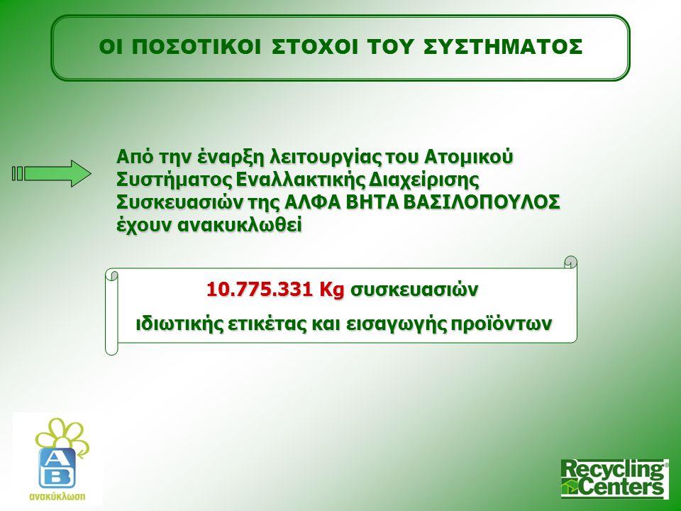 ΟΙ ΠΟΣΟΤΙΚΟΙ ΣΤΟΧΟΙ ΤΟΥ ΣΥΣΤΗΜΑΤΟΣ Από την έναρξη λειτουργίας του Ατομικού Συστήματος Εναλλακτικής Διαχείρισης Συσκευασιών της ΑΛΦΑ ΒΗΤΑ ΒΑΣΙΛΟΠΟΥΛΟΣ έχουν ανακυκλωθεί 10.775.331 Kg συσκευασιών ιδιωτικής ετικέτας και εισαγωγής προϊόντων
