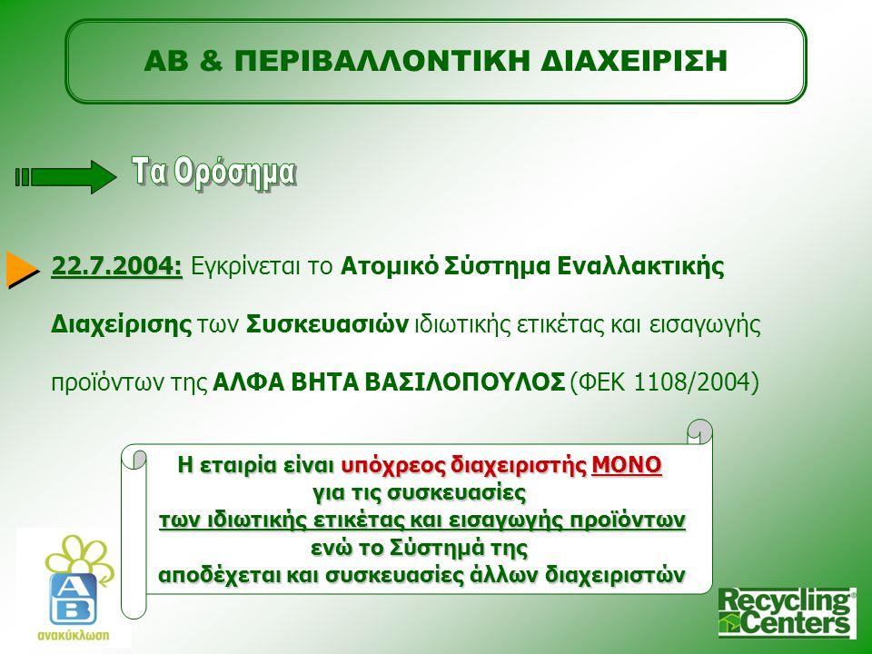 ΑΒ & ΠΕΡΙΒΑΛΛΟΝΤΙΚΗ ΔΙΑΧΕΙΡΙΣΗ 22.7.2004: 22.7.2004: Εγκρίνεται το Ατομικό Σύστημα Εναλλακτικής Διαχείρισης των Συσκευασιών ιδιωτικής ετικέτας και εισαγωγής προϊόντων της ΑΛΦΑ ΒΗΤΑ ΒΑΣΙΛΟΠΟΥΛΟΣ (ΦΕΚ 1108/2004) Η εταιρία είναι υπόχρεος διαχειριστής ΜΟΝΟ για τις συσκευασίες των ιδιωτικής ετικέτας και εισαγωγής προϊόντων ενώ το Σύστημά της αποδέχεται και συσκευασίες άλλων διαχειριστών