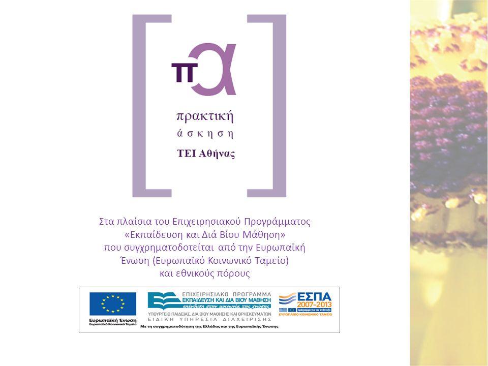 Στα πλαίσια του Επιχειρησιακού Προγράμματος «Εκπαίδευση και Διά Βίου Μάθηση» που συγχρηματοδοτείται από την Ευρωπαϊκή Ένωση (Ευρωπαϊκό Κοινωνικό Ταμεί
