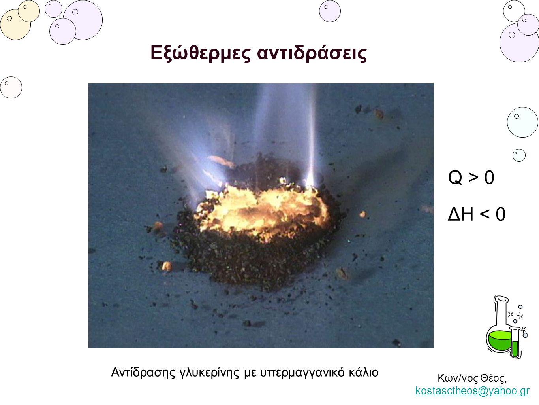 Κων/νος Θέος, kostasctheos@yahoo.gr kostasctheos@yahoo.gr Εξώθερμες αντιδράσεις Αντίδρασης γλυκερίνης με υπερμαγγανικό κάλιο Q > 0 ΔH < 0