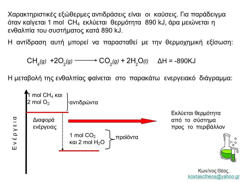 Χαρακτηριστικές εξώθερμες αντιδράσεις είναι οι καύσεις. Για παράδειγμα όταν καίγεται 1 mol CH 4 εκλύεται θερμότητα 890 kJ, άρα μειώνεται η ενθαλπία το