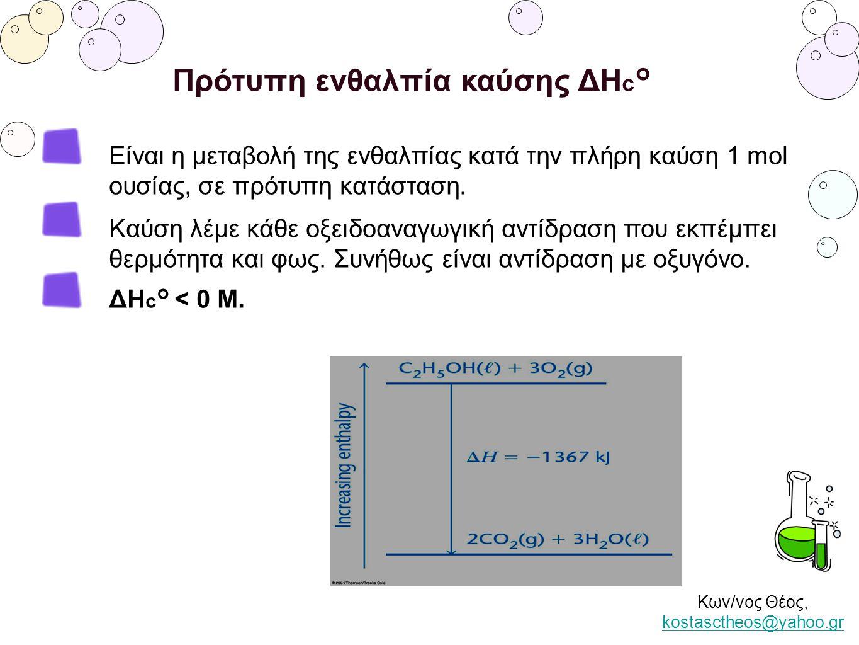 Κων/νος Θέος, kostasctheos@yahoo.gr kostasctheos@yahoo.gr Πρότυπη ενθαλπία καύσης ΔΗ c ° Είναι η μεταβολή της ενθαλπίας κατά την πλήρη καύση 1 mol ουσ