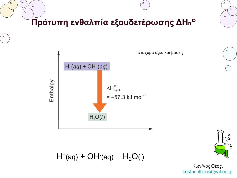Κων/νος Θέος, kostasctheos@yahoo.gr kostasctheos@yahoo.gr Πρότυπη ενθαλπία εξουδετέρωσης ΔΗ n ° H + (aq) + OH - (aq) → H 2 O (l) Για ισχυρά οξέα και β