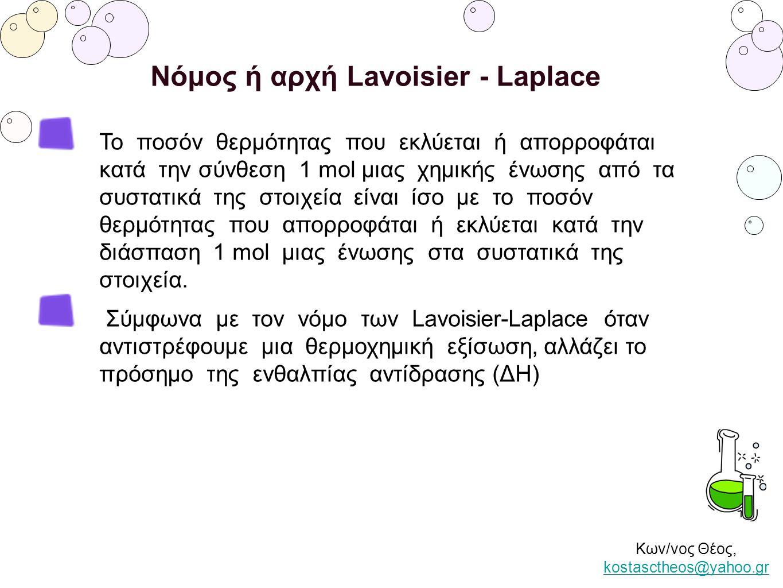 Κων/νος Θέος, kostasctheos@yahoo.gr kostasctheos@yahoo.gr Νόμος ή αρχή Lavoisier - Laplace Το ποσόν θερμότητας που εκλύεται ή απορροφάται κατά την σύν