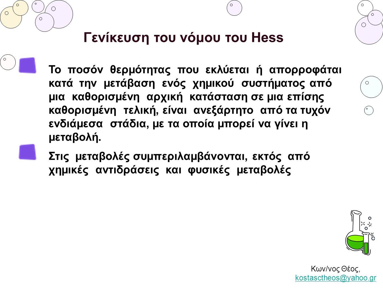 Κων/νος Θέος, kostasctheos@yahoo.gr kostasctheos@yahoo.gr Γενίκευση του νόμου του Hess Το ποσόν θερμότητας που εκλύεται ή απορροφάται κατά την μετάβασ
