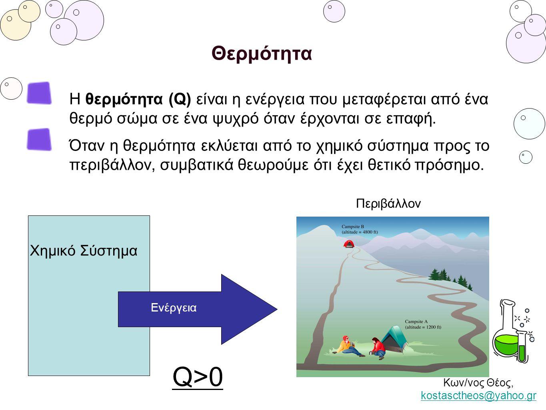 Κων/νος Θέος, kostasctheos@yahoo.gr kostasctheos@yahoo.gr Θερμότητα Η θερμότητα (Q) είναι η ενέργεια που μεταφέρεται από ένα θερμό σώμα σε ένα ψυχρό ό