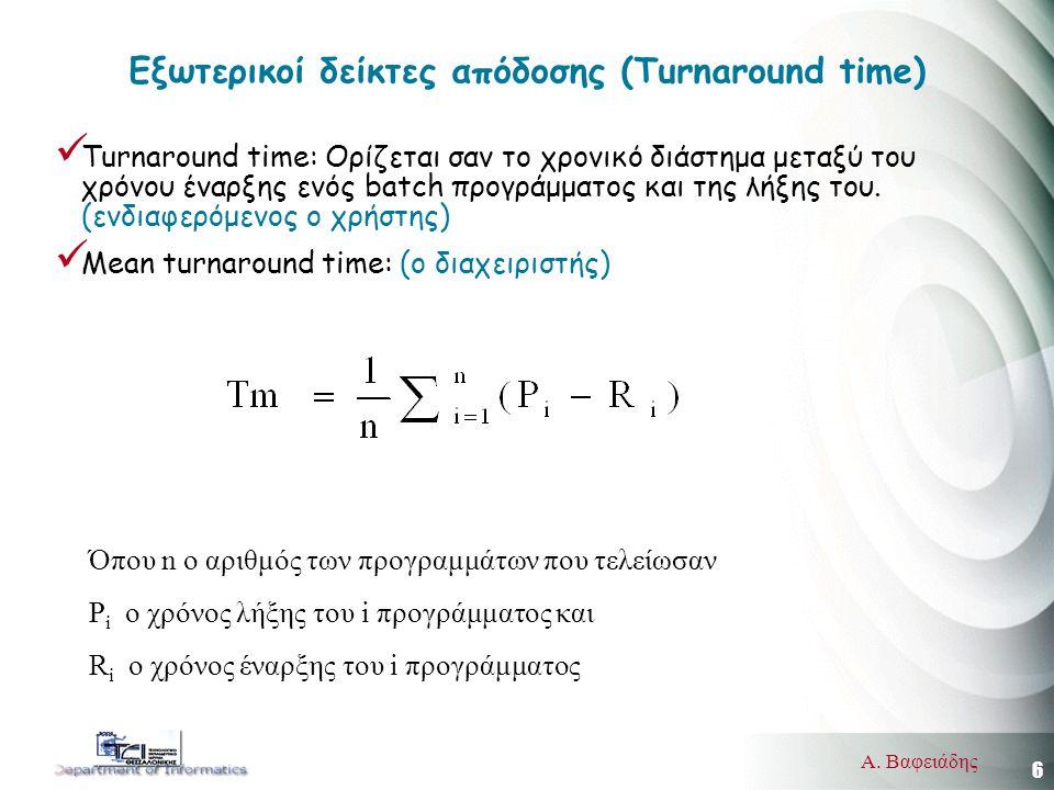6 Α. Βαφειάδης Εξωτερικοί δείκτες απόδοσης (Turnaround time) Turnaround time: Ορίζεται σαν το χρονικό διάστημα μεταξύ του χρόνου έναρξης ενός batch πρ
