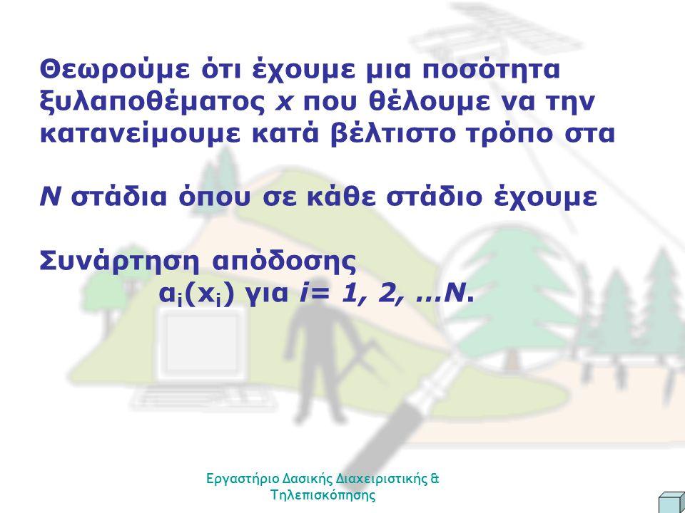 Εργαστήριο Δασικής Διαχειριστικής & Τηλεπισκόπησης Θεωρούμε ότι έχουμε μια ποσότητα ξυλαποθέματος x που θέλουμε να την κατανείμουμε κατά βέλτιστο τρόπο στα Ν στάδια όπου σε κάθε στάδιο έχουμε Συνάρτηση απόδοσης α i (x i ) για i= 1, 2, …N.