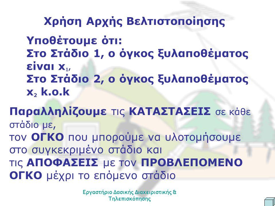 Εργαστήριο Δασικής Διαχειριστικής & Τηλεπισκόπησης Χρήση Αρχής Βελτιστοποίησης Υποθέτουμε ότι: Στο Στάδιο 1, ο όγκος ξυλαποθέματος είναι x 1, Στο Στάδιο 2, ο όγκος ξυλαποθέματος x 2 k.o.k Παραλληλίζουμε τις ΚΑΤΑΣΤΑΣΕΙΣ σε κάθε στάδιο με, τον ΟΓΚΟ που μπορούμε να υλοτομήσουμε στο συγκεκριμένο στάδιο και τις ΑΠΟΦΑΣΕΙΣ με τον ΠΡΟΒΛΕΠΟΜΕΝΟ ΟΓΚΟ μέχρι το επόμενο στάδιο