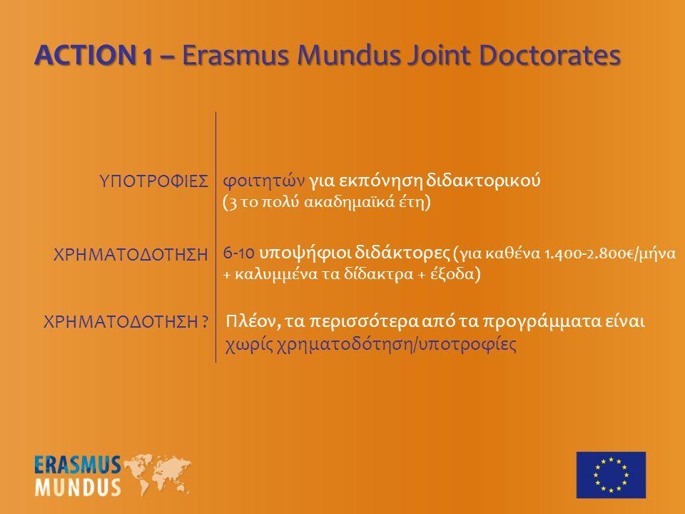 ΥΠΟΤΡΟΦΙΕΣ ACTION 1 – Erasmus Mundus Joint Doctorates 6-10 υποψήφιοι διδάκτορες (για καθένα 1.400-2.800€/μήνα + καλυμμένα τα δίδακτρα + έξοδα) φοιτητώ