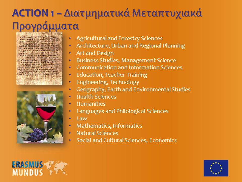 Agricultural and Forestry Sciences Architecture, Urban and Regional Planning Art and Design Business Studies, Management Science Communication and Information Sciences Education, Teacher Training Engineering, Technology Geography, Earth and Environmental Studies Health Sciences Humanities Languages and Philological Sciences Law Mathematics, Informatics Natural Sciences Social and Cultural Sciences, Economics ACTION 1 – Διατμηματικά Μεταπτυχιακά Προγράμματα