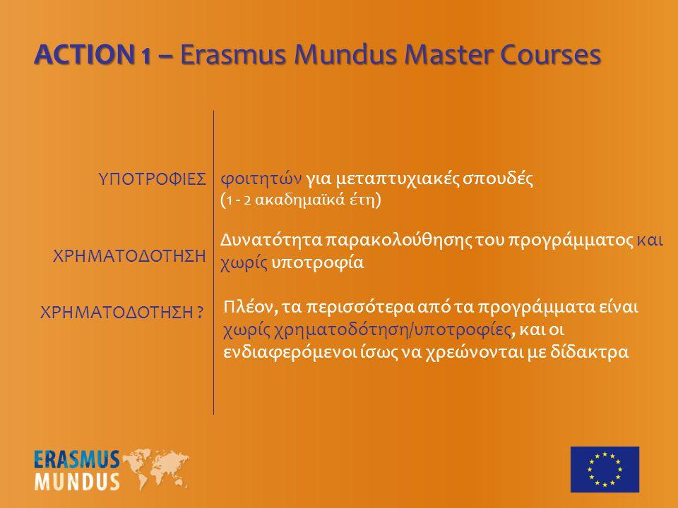 ΥΠΟΤΡΟΦΙΕΣ ACTION 1 – Erasmus Mundus Master Courses Δυνατότητα παρακολούθησης του προγράμματος και χωρίς υποτροφία φοιτητών για μεταπτυχιακές σπουδές (1 - 2 ακαδημαϊκά έτη) ΧΡΗΜΑΤΟΔΟΤΗΣΗ ΧΡΗΜΑΤΟΔΟΤΗΣΗ .