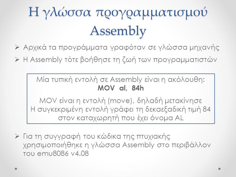 Η γλώσσα προγραμματισμού Assembly  Αρχικά τα προγράμματα γραφόταν σε γλώσσα μηχανής  Η Assembly τότε βοήθησε τη ζωή των προγραμματιστών  Για τη συγ
