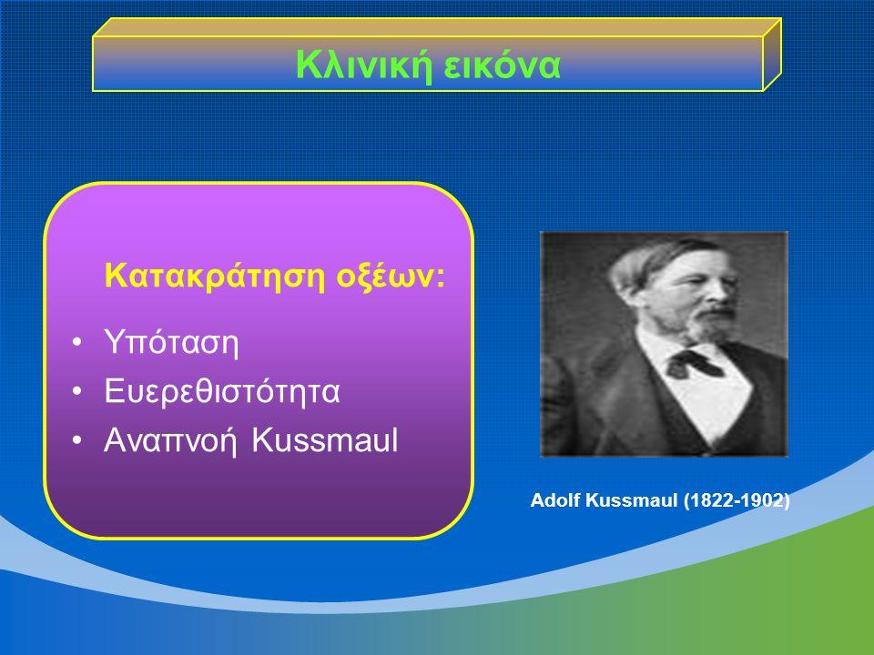 Κλινική εικόνα Κατακράτηση οξέων: Υπόταση Ευερεθιστότητα Αναπνοή Kussmaul Adolf Kussmaul (1822-1902)