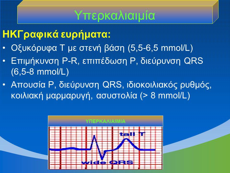 ΗΚΓραφικά ευρήματα: Οξυκόρυφα Τ με στενή βάση (5,5-6,5 mmol/L) Επιμήκυνση P-R, επιπέδωση P, διεύρυνση QRS (6,5-8 mmol/L) Απουσία P, διεύρυνση QRS, ιδι