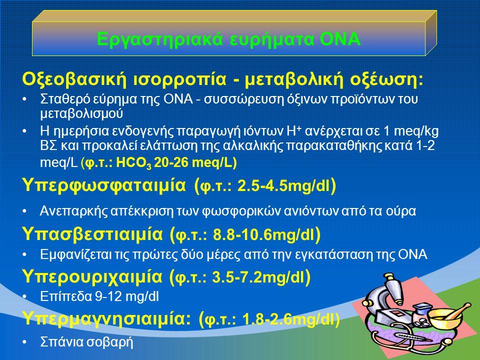 Οξεοβασική ισορροπία - μεταβολική οξέωση: Σταθερό εύρημα της ΟΝΑ - συσσώρευση όξινων προϊόντων του μεταβολισμού Η ημερήσια ενδογενής παραγωγή ιόντων Η