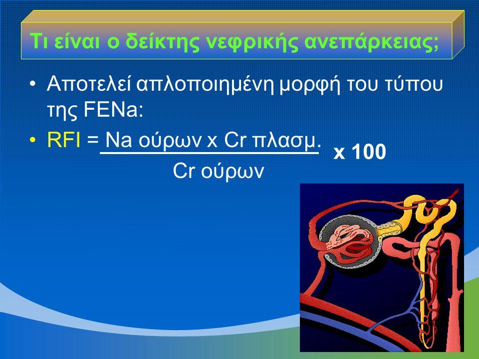 Αποτελεί απλοποιημένη μορφή του τύπου της FENa: RFI = Νa ούρων x Cr πλασμ. Cr ούρων Τι είναι ο δείκτης νεφρικής ανεπάρκειας; x 100