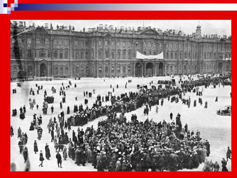 Η εργατική επανάσταση άρχισε κατά το τέλος του Φεβρουαρίου του 19171917 στην Αγία Πετρούπολη με τεράστιες απεργίεςΑγία Πετρούπολη και δυναμικές διαδηλ