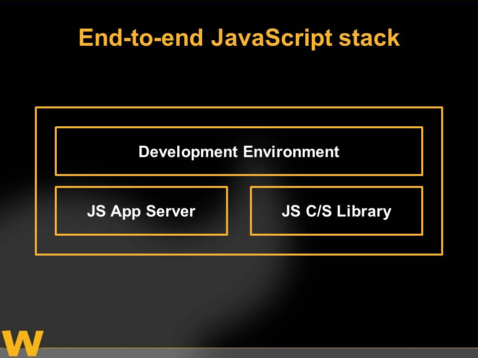 JS App ServerJS C/S Library Development Environment End-to-end JavaScript stack