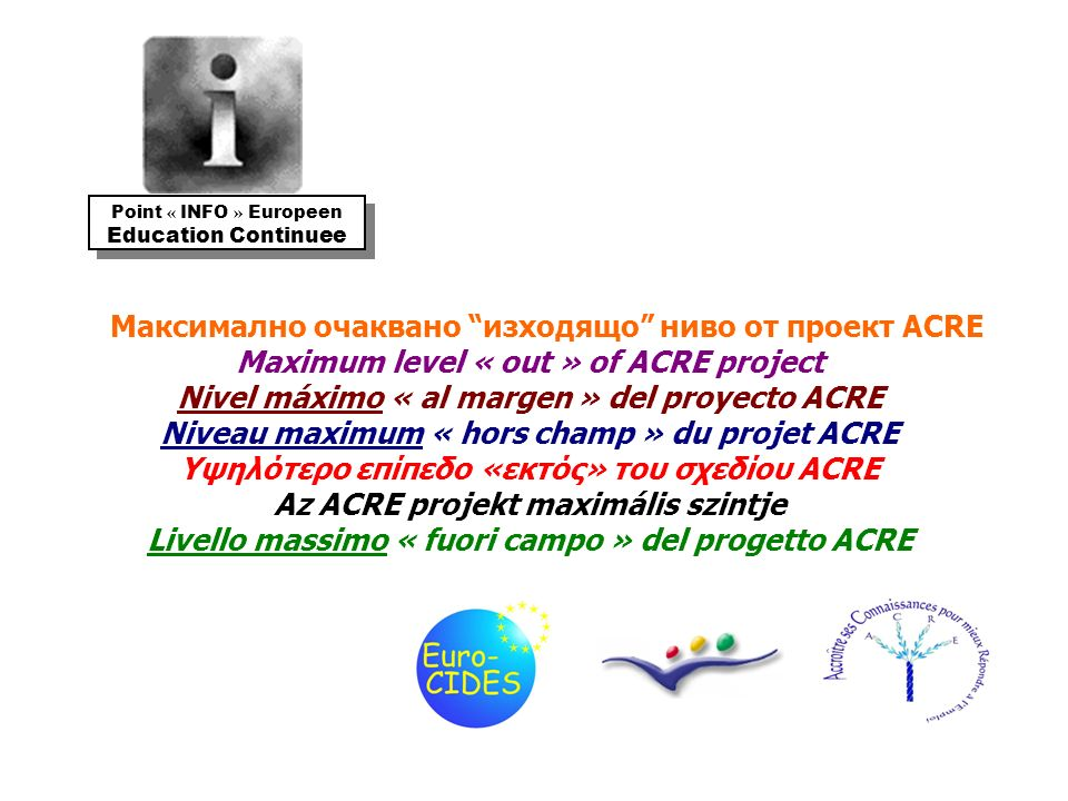 Максимално очаквано изходящо ниво от проект ACRE Maximum level « out » of ACRE project Nivel máximo « al margen » del proyecto ACRE Niveau maximum « hors champ » du projet ACRE Υψηλότερο επίπεδο «εκτός» του σχεδίου ACRE Az ACRE projekt maximális szintje Livello massimo « fuori campo » del progetto ACRE Point « INFO » Europeen Education Continuee Point « INFO » Europeen Education Continuee