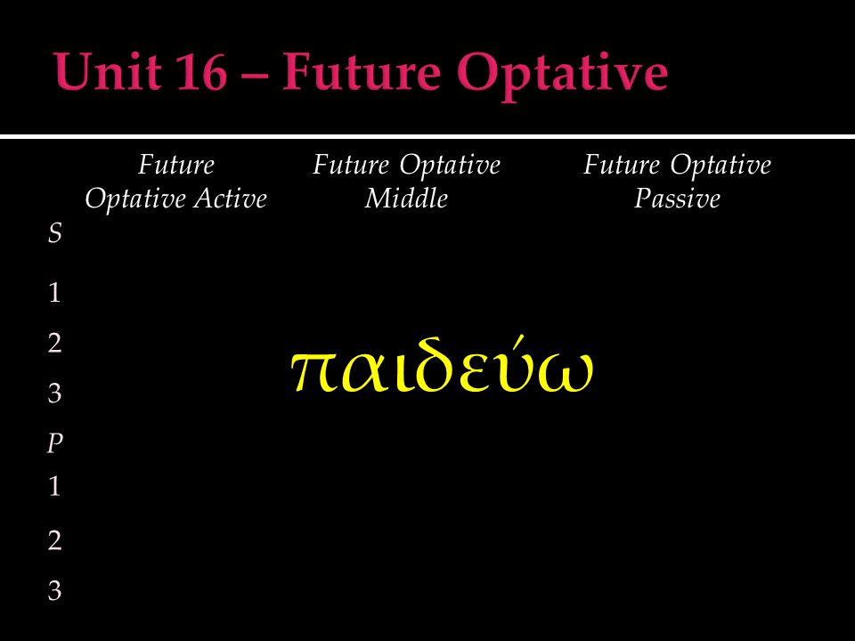 S Future Optative Active Future Optative Middle Future Optative Passive 1 2 3 P 1 2 3 παιδεύω