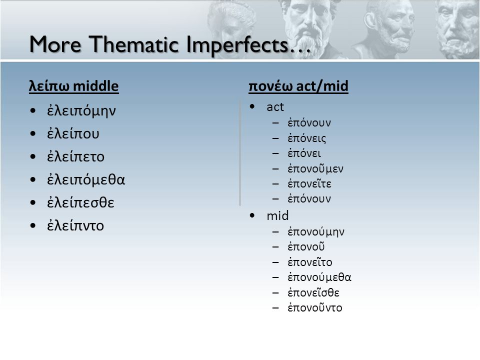 More Thematic Imperfects… λείπω middle ἐλειπόμην ἐλείπου ἐλείπετο ἐλειπόμεθα ἐλείπεσθε ἐλείπντο πονέω act/mid act – ἐ π ό νουν – ἐ π ό νεις – ἐ π ό νει – ἐ π ονο ῦ μεν – ἐ π ονε ῖ τε – ἐ π ό νουν mid – ἐ πo νο ύ μην – ἐ π ονο ῦ – ἐ π ονε ῖ το – ἐ π ονο ύ μεθα – ἐ π ονε ῖ σθε – ἐ π ονο ῦ ντο