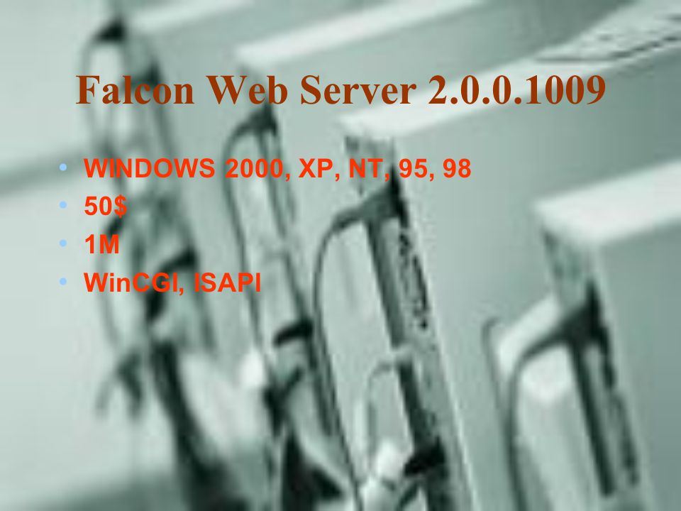 Falcon Web Server 2.0.0.1009 WINDOWS 2000, XP, NT, 95, 98 50$ 1M WinCGI, ISAPI
