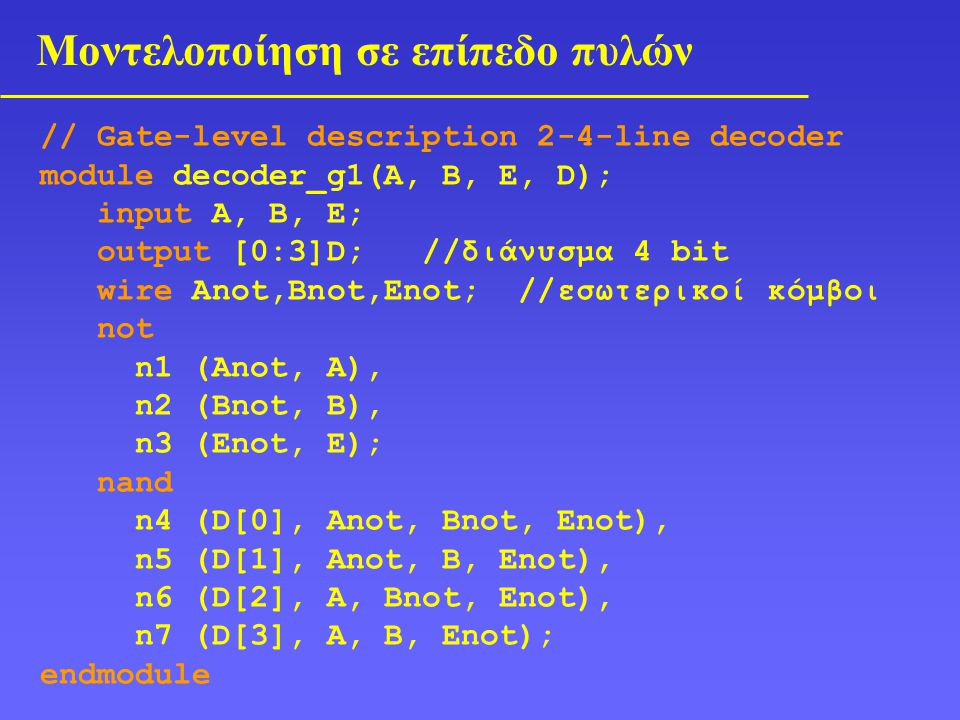 Μοντελοποίηση σε επίπεδο πυλών // Gate-level description 2-4-line decoder module decoder_g1(A, B, E, D); input A, B, E; output [0:3]D; //διάνυσμα 4 bit wire Anot,Bnot,Enot; //εσωτερικοί κόμβοι not n1 (Anot, A), n2 (Bnot, B), n3 (Enot, E); nand n4 (D[0], Anot, Bnot, Enot), n5 (D[1], Anot, B, Enot), n6 (D[2], A, Bnot, Enot), n7 (D[3], A, B, Enot); endmodule