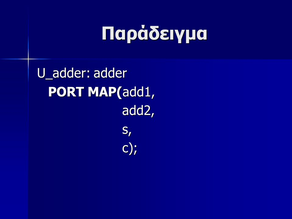Παράδειγμα U_adder: adder PORT MAP(add1, add2, add2, s, s, c); c);