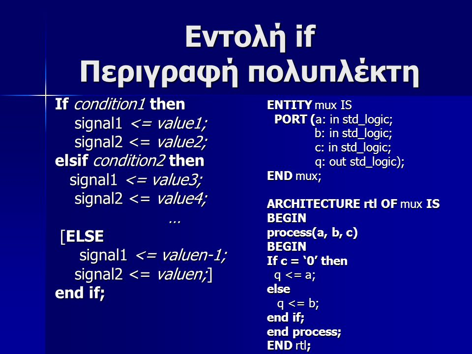 Εντολή if Περιγραφή πολυπλέκτη If condition1 then signal1 <= value1; signal1 <= value1; signal2 <= value2; signal2 <= value2; elsif condition2 then signal1 <= value3; signal1 <= value3; signal2 <= value4; signal2 <= value4; … [ELSE [ELSE signal1 <= valuen-1; signal1 <= valuen-1; signal2 <= valuen;] signal2 <= valuen;] end if; ENTITY mux IS PORT (a: in std_logic; PORT (a: in std_logic; b: in std_logic; b: in std_logic; c: in std_logic; c: in std_logic; q: out std_logic); q: out std_logic); END mux; ARCHITECTURE rtl OF mux IS BEGIN process(a, b, c) BEGIN If c = '0' then q <= a; q <= a;else q <= b; q <= b; end if; end process; END rtl;