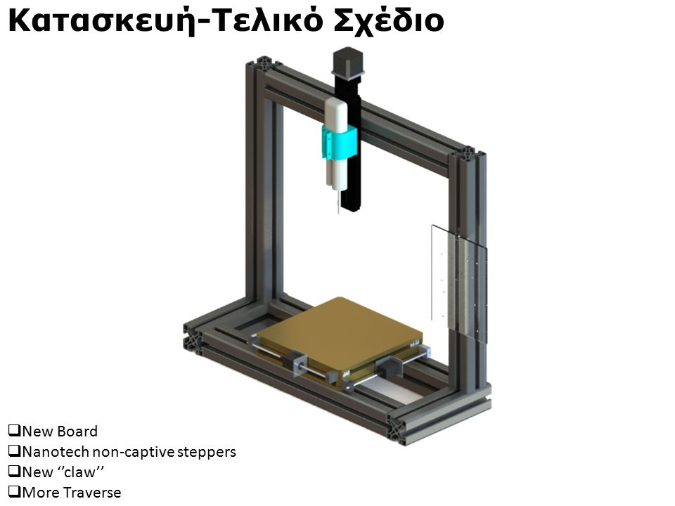 Κατασκευή-Τελικό Σχέδιο  Νew Board  Nanotech non-captive steppers  New ''claw''  More Traverse