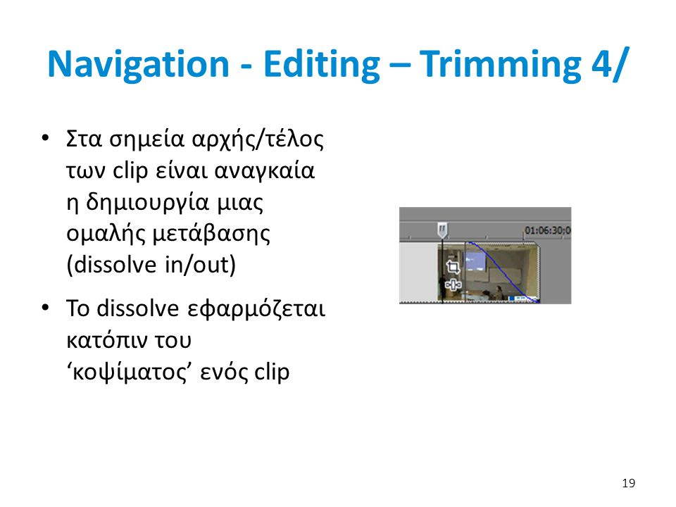 Navigation - Editing – Trimming 4/ Στα σημεία αρχής/τέλος των clip είναι αναγκαία η δημιουργία μιας ομαλής μετάβασης (dissolve in/out) To dissolve εφαρμόζεται κατόπιν του 'κοψίματος' ενός clip 19
